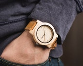 Men's Watch Engraved, Personalized Wooden Watch, Maple Wood Watch with Leather Calfskin Strap - KNTY-L