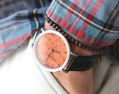 Personalized Watch For Men, Rosewood & Brushed Silver Watch, Black Leather Strap - CSTM-HELM-RS