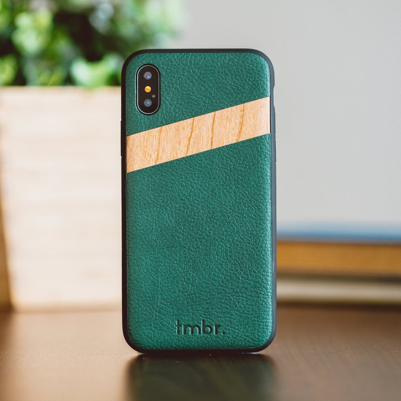 save off 23849 26263 Leather Wood iPhone X Case, iPhone X Case, iPhone X Wood Case, Green  Leather iPhone X Case - LTR-IPHONE-X
