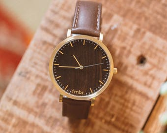 Personalized Watch Wood, Valentine's Gift For Her, Walnut Wood Gold Watch, Brown Leather Strap - CSTM-HELM-WG
