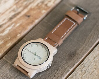 Wooden Watch, Minimalist Mens Wood Watch, Brown Leather Strap Watch - KNTY-L