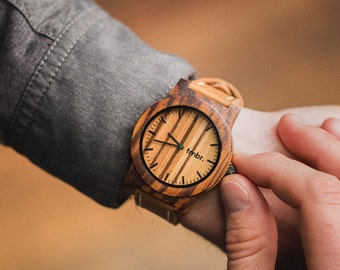Men's Wood Watch, Leather Strap Men's Wood Watch, Brown Leather Strap Wood Watch For Men - BRLY-Z