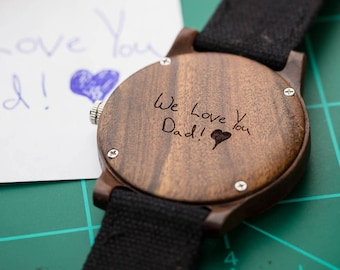 Signature Engraving, Wood Watch With Engraving, Mens Watch Personalized Wood - CST-RIDGE