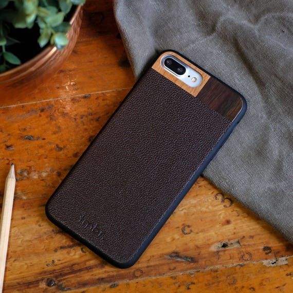 newest c276a 656fa iPhone 8 plus Wood Case, iPhone 8 plus Leather Case, Wood/Leather iPhone 8  plus Case - LTR-BR-I8P