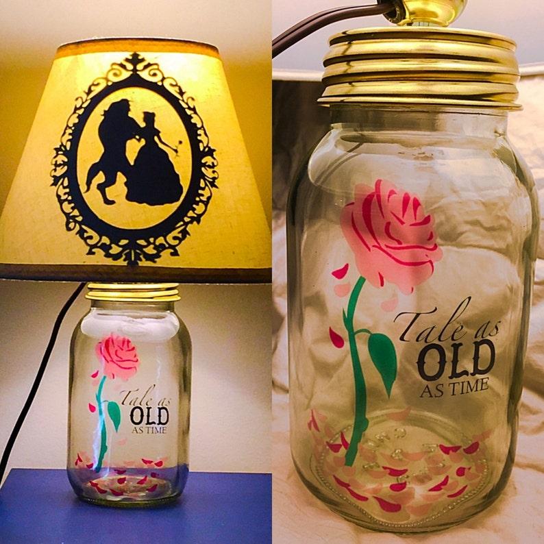 Beauty And The Beast Inspired Mason Jar Character Lamp Etsy