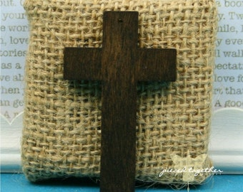 Wood Cross Pendant 52mm (2 inches) long Dark Brown - 5 pieces