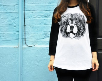 Ethically Produced Illustrated Chow Baseball Top