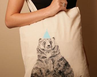 Limited Edition Circus Bear Illustration Tote Bag