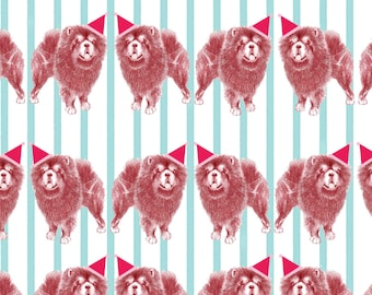 Illustrated Candy Stripe Santa Chow Chow Gift Wrap A2 Sheet