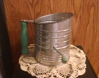 Vintage 1940's Bromwell's Flour Sifter Metal with Green Wooden Handle and crank knob