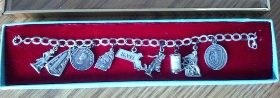 Vintage Massachusetts Sterling Silver Charm Brace… - image 1