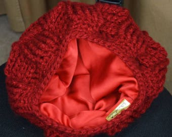 Satin Lined hat Basket Weave crochet hat Beanie | Sale