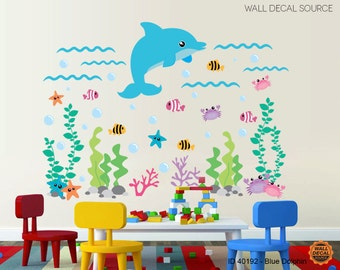 Under The Sea Vinyl Stickers- Dolphin and Fish Ocean Wall Decal