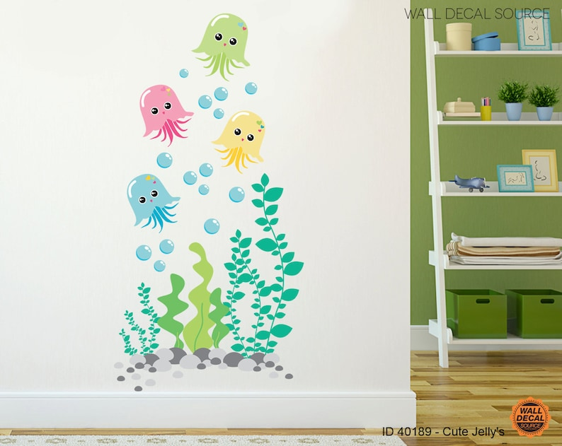 Nursery Jellyfish Vinyl Decal  Bathroom Under the Sea Vinyl image 0