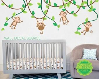 Monkeys on Vines Nursery Wall Decal - Vinyl Monkey Sticker Art