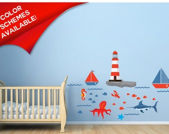 Lighthouse Decals - Boat Decals - Fish Decals - Ocean Wall Decals - Nautical Wall Decor - Boys Wall Decals - Kids Wall Decals