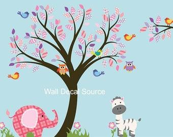 Nursery Tree Wall Decal - Nursery Decals - Elephant Wall Decals - Zebra Wall Decals - Bird Wall Decals