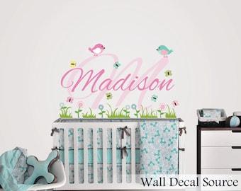 Garden Custom Name Decal - Butterfly and Bird Vinyl Wall Stickers