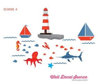 Nautical Wall Decals - SailBoat Stickers - Octopus Wall Art - Ocean Scenes Decals