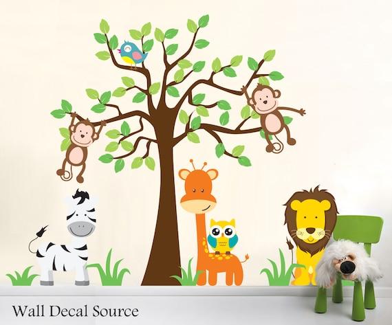 Kinderzimmer Dschungel Wandtattoo Tiere Wandtattoo Etsy