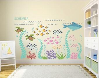 Ocean Decal - Ocean Wall Decals - Fish Decal - Removable Wall Decals - Kids Wall Decals