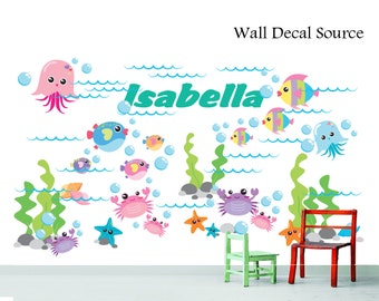 Under the Sea Vinyl Stickers - Fish and Sea Creatures Wall Decals - Reusable Available