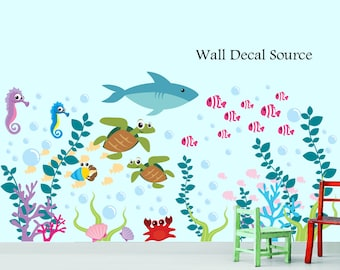 Sea Life Decals - Ocean Life Wall Decal - Coral Reef with Seashells Wall Decals - Tropical Fish Decals - Fish Decals - Sea Decals