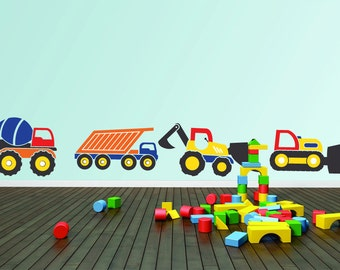 Truck Wall Decal - Boy's Wall Decal - Vinyl Wall Decal - Construction Truck Decals - Boys Truck Decals - Truck Decals