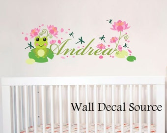 Nursery Wall Decal -  Frog Wall Decal -  Monogram Wall Decal