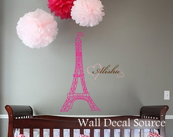 Eiffel Tower Wall Decal - Wall Art Decal - Girls Name Wall Decal