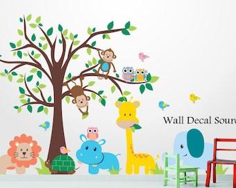 Jungle Tree Wall Decal - Nursery Vinyl Wall Decal - Kids Vinyl Tree Decal