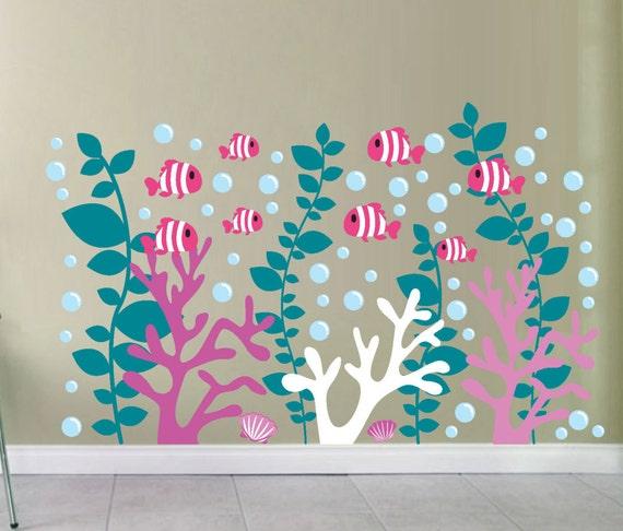 WANDTATTOO Fisch Nemo Ozean Insel Aufkleber für Kinder Wand Aufkleber SET 5
