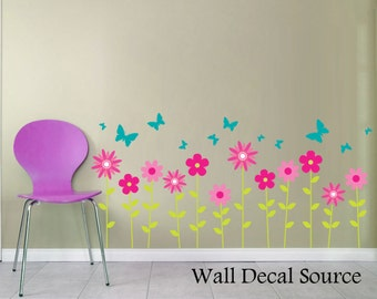 Flower Decals, Butterfly Wall Decals, Floral Wall Decor, Wall Flower Decal, wall decals for kids, kids wall decals, Flower Decals
