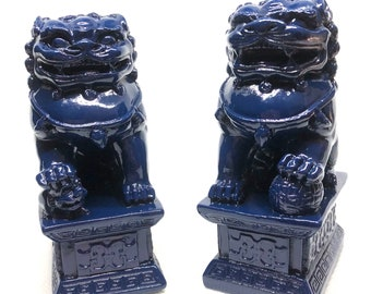 Pair Of Navy Blue Chinoiserie Foo Dog Foo Lion Asian Home Decor Statues