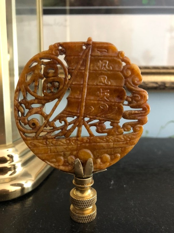 Chinese Junk Boat Chinoiserie Lamp Finial