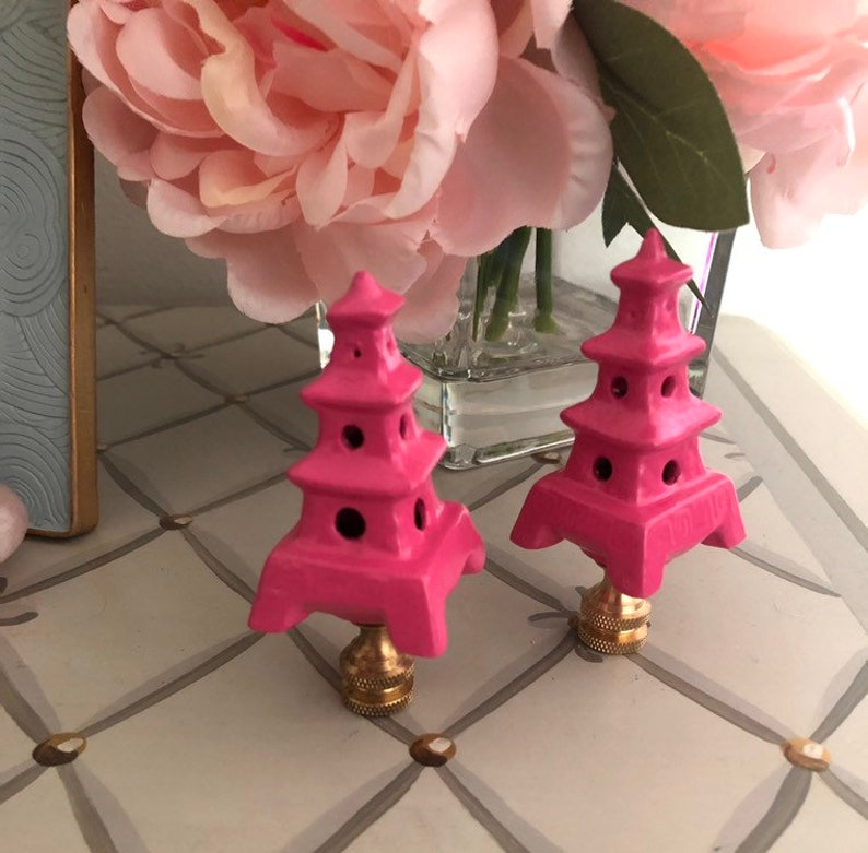 Pair Of Hot Pink Pagoda Lamp Finials Chinoiserie Home Decor Decorative  Lighting Accessories Lamp Parts
