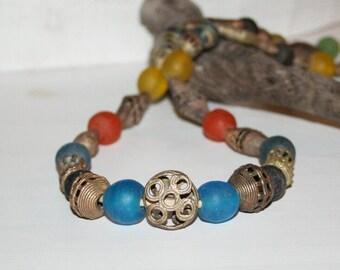 Strang Altglasperlen 13 mm blau//grün//klar Recycled Glass Beads Ghana Krobo