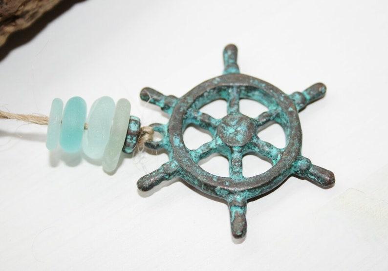 patina steering wheel chain trailer charm pendant Pearl set seaglass