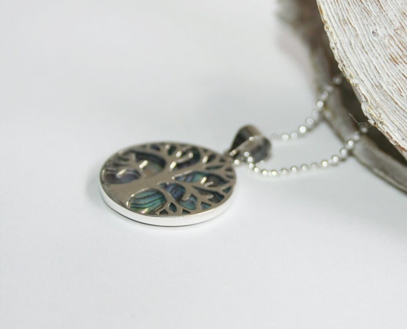 Tree of life abalone, tree of life Necklace silver