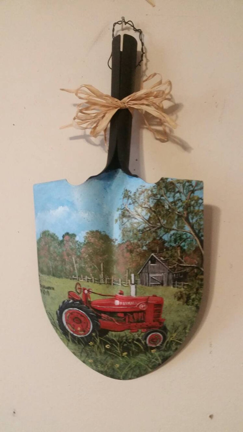 FARMALL TRACTOR Painting with Barn and Fence on the Metal ...
