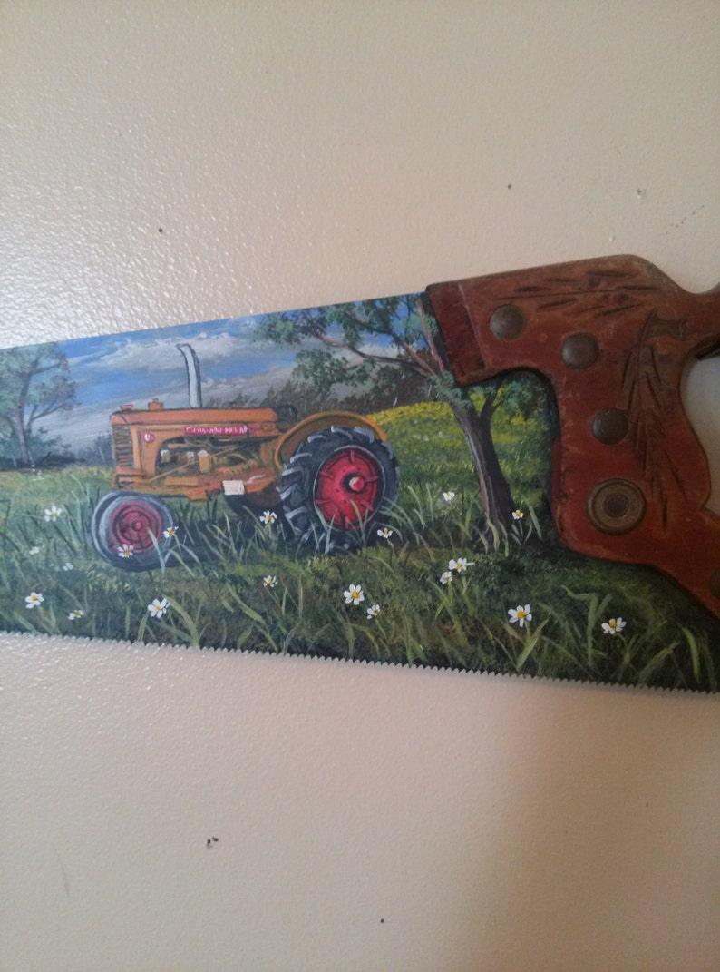 Handsaw Painting Of Minneapolis Moline Tractor And Barn By