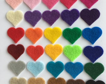 "100 - 1"" Die cut felt hearts, Multi color, Felt heart, Headband hair clip, Scrapbooking supplies, Embellishments"