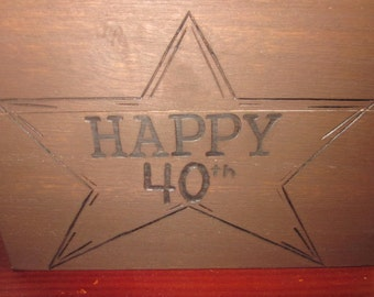Happy 40th Boxed wooden box.