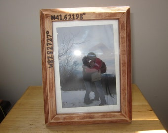 """Longitude and latitude coordinate picture frame 4 x 6"""" wooden picture frame personalized woodburned"""