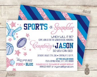 Sports or Sparkles? Baby Gender Reveal Invitations - Colors Used: Pink, Navy, Royal, and Blue