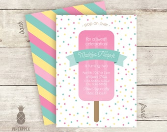 Confetti Popsicle Birthday Party Invitations - Colors Used: Pink, Aqua and Light Yellow