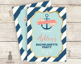 Nautical Inspired Bachelorette Party Timeline Invitations - Colors Used: Country Blue, Coral, Light Blue, Ivory & Gold