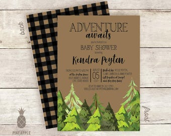 Pine Tree Adventure - Themed Baby Shower Invitations
