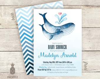 Whale-Themed Baby Shower Invitations