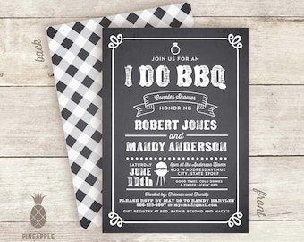 Chalkboard Inspired I Do BBQ Invitations